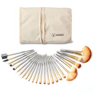 VanderLife Pro Maquiagem Escovar Brushes Set 24pcs Pinsel Cosmetic Foundation Pó Blush Eyeliner Blending Brushes Kit w / Bag Champagne