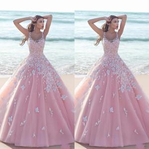 공주 꽃 무늬 꽃 핑크 볼 가운 성인식 드레스 2020 새해 얇은 명주 그물 국자 민소매 레이스 몸통 긴 댄스 파티 드레스 정장 파티