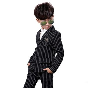 classic kids blazer suit set gentleman style striped outerwear set for 2-10years boys children fashion clothes suit set
