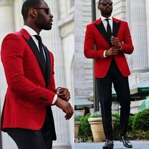 Smoking vermelho noivo do casamento dos homens ternos dos homens ternos de casamento smoking trajes de fumar pour hommes homens (Jacket + Pants + Tie) 008