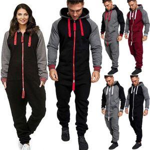 HIRIGIN Unisex Adulto Donne vestiti caldi di inverno Moda / signora Men Tuta Tuta a maniche lunghe con cappuccio Zipper tutina