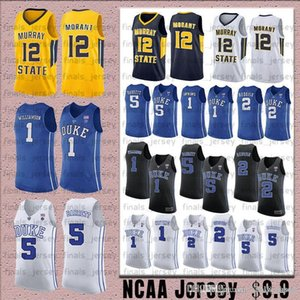 1 Zion Williamson NCAA DUKE BLUE DEVILLOS Jersey 12 JA Morant Murray State 5 RJ Barrett 2 CAM Reddish Christian Laactner Basketball Jerseys