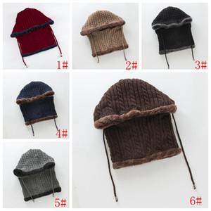 Scaldacollo Cappelli invernali lavorato a maglia il cappello con la sciarpa del Passamontagna Hat donne per gli uomini Donne Skullies Berretti di lana protezione calda 6 colori VT0883