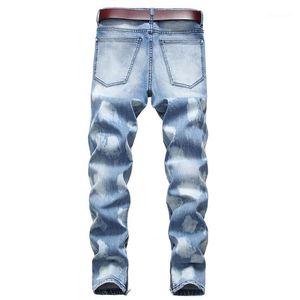Jeans rasgados dos homens do desenhista calça jeans reta calças stretch fino Mens longas Spring Fashion Plus Size Masculino