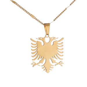 Albanien Eagle-Anhänger-Halsketten-Edelstahl-Ethnic Tier Kette Schmuck Geschenke