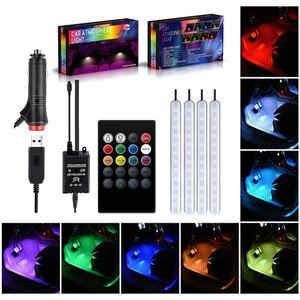Auto ha condotto la striscia Atmosfera Luce piede leggero USB / accendisigari telecomando APP Interni decorativi LED ambiente Lampada Striscia Accessori