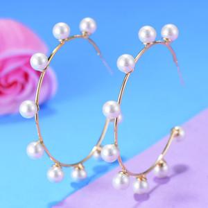 LARRAURI New Fashion Handmade Women Jewelry Elegant Pearl Earrings Statement Gold Hoop Earrings Noble Symbol for Women Jewelry