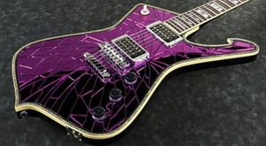 Frete Grátis Ps2cm Roxo Gold Sliver Rachado Espelho Iceman Paul Stanley Guitarra Elétrica Abalone Body Binding, Abalone Pearl Inlay
