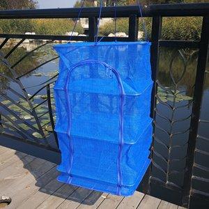 4 strati di pesce netto fiocco essiccazione rete da pesca cremagliera pieghevole maglia appesa non tossico verdure piatti gancio asciugatrice accessori da pesca
