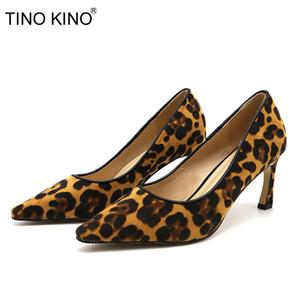 Leopardo TINO KINO de bombas de las mujeres resbalón de las mujeres superficial punta estrecha mujer fina que los tacones altos del ante suave Mujer zapatos de moda