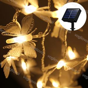 잔디 램프 태양 정원 조명 LED 문자열 PVC 나비 20 50 100LEDS 따뜻한 흰색 방수 크리스마스 결혼식 파티 DHL에 대 한