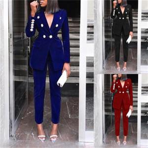 순수한 색 정장 양복 스타 버튼 코트 바지 세트 레저 자켓 바지 의류 여성 가을 겨울 사무직 의류 60yz H1
