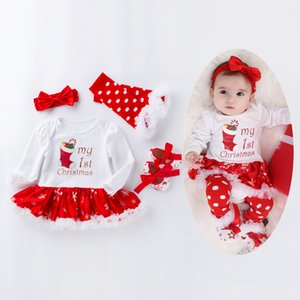 4pcs Christmas Festival Party Baby Clothes Long Sleeve Newborn Romper Dress Baby Girls Clothes Happy New Year Infant Cloth Set