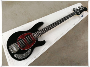 Factory Custom Black 5-strings Electric Bass Guitar with Rosewood Fingerboard,Chrome Hardware,Red pearl Pickguard,can be customized.