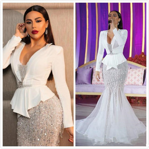 Arabe Aso Ebi Sparkly luxe sirène robes de soirée encolure en V cristaux de perles Robes de bal Sexy Party robes formelle Robes de soirée