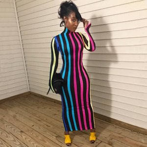 Bodycon Dresses Sexy Long Sleeve Striped High Neck Long Dress Fashion Casual Female Clothing 2020 Womens Designer