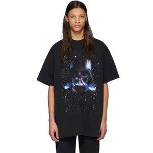 20ss Guerras Starry Sky Warrior preto Impresso T Homens Mulheres Casual mangas curtas High Street Skate T-shirt do verão respirável Tee HFYMTX779