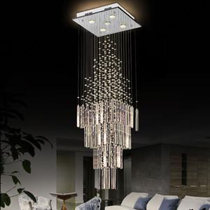 Chuvas chandelier colunas de cristal da lâmpada com base quadrada iluminação de teto de sala de estar sala de jantar escada