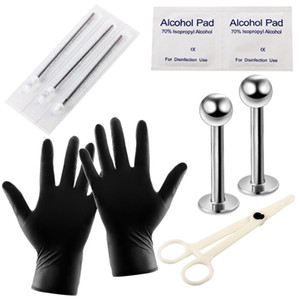 corpo in acciaio inox Kit piercing Naso labret trago lingua Piercing Gun Piercing Tool