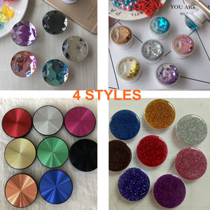 4 Styles Universal Crystal Diamond CD Shape 3D Glitter Grip Expandable Cell Phone Holder Stand Bracket Phone Holder With Retail Package