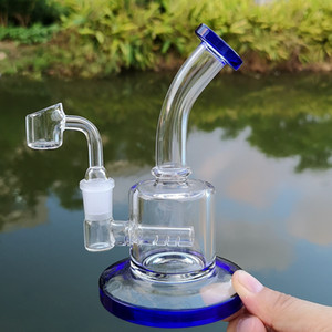 6 Inch Small Dab Rig Colorful Thick Glass Bongs Inline Perc Water Pipes 14mm Joint Oil Rigs Mini Bong With 4mm Quartz Banger