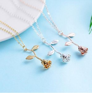 Fashion Rose Flower Pendant Necklace Gold Silver Beauty Rose Pendant Jewelry Alloy Sweet Charm Necklace For Women Girls