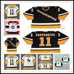 Cheap personalizzato 1998 Vintage CCM Pittsburgh Penguins Ice Hocky 11 Darius Kasparaitis Tutti cucita Bianco Nero ricamo domestico Retro Maglie