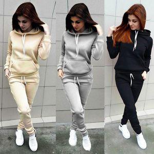 Sudaderas con capucha para mujer Ropa de pantalón 2PCS Set Warm New Women Ladies letter Chándal Set 2pcs Tops Pants Suit Female