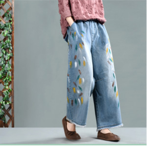 Spring Autumn Jeans Women Loose Large size Denim Pants New Ladies Elastic Waist pocket Bleached Print Casual Blended Trousers