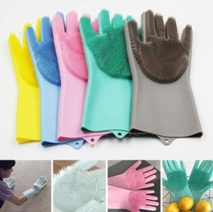 8 Colors Resuable Silicone Magic Washing Glove Brush Anti Scald Gloves Household Scrubber Kitchen Bathroom Tools 2pcs pair CCA10901 50pcs