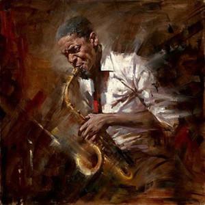 Impressionismo maschio musica ritratto di gioco Jazz Home Decor Top Artigianato / HD Stampa della pittura a olio su tela di canapa di arte della parete della tela di canapa Immagini 059