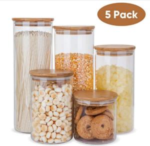Set di contenitori per alimenti in vetro, vasetti per alimenti ermetici con coperchi in legno di bambù-Set di 5 contenitori da cucina per zucchero, caramelle, biscotti, riso e
