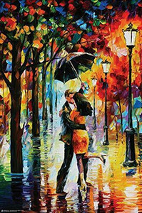 Danza Under the Pioggia - Leonid Afremov Sanat İpek Baskı Poster 24x36inch (60x90cm) 01556
