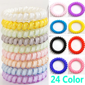 Telephone Wire Cord Cum Hair Tie Girls HairBand Ring Rope Bracelet Hair Accessories 4cm Party Favor Gifts HH9-2176