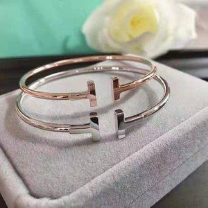 Logo 925 Silber Vergoldet justierbares Armband Pulsera Doppel-T-Shaped Tiff Cuff BraceletsBangle öffnen Armband für Frauen Männer Hochzeit Geschenke