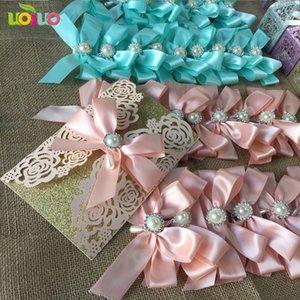 sea blue rose 10Pcs Sample Laser Cut Wedding Invitation Card Customizalbe Envelopes & Inner Card & Party Supplies
