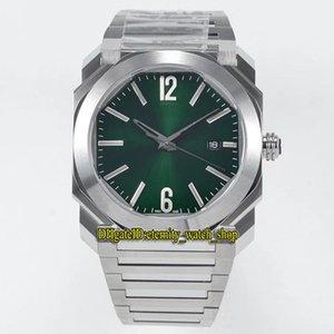 BV Top versão OCTO ROMA 41 milímetros 102704 102485 102738 verdes Dial Japão Miyota 9015 Automatic Mens Watch Sapphire aço capa Designer relógios