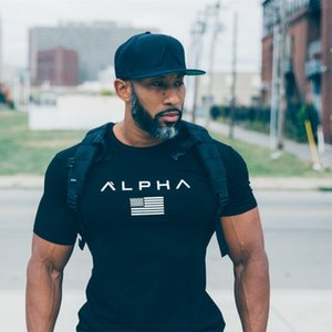 T Shirt Mens Summer Wear ALPHA Sport Gym Fitness Tight Workout T-shirt Homme Short Sleeves Slim Outdoor Cotton Classic New Style Tee Shirts