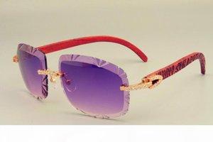2019 nuevas gafas de sol de lentes de venta caliente 8300075 brazo de talla de madera también gafas, espejo de sombrilla unisex de diamante de lujo, se puede tallar el nombre