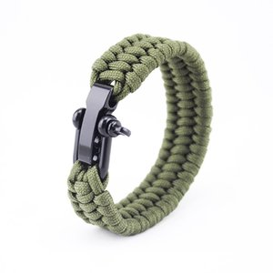 Paracord Survival Bracelet with Adjustable Stainless Steel Black Shackle, Available in 3 Adjustable Sizes Fit for 7 to 8 Inch Wrists