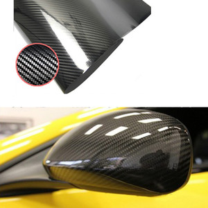 5D Etiqueta de Coche 30 * 152 cm Brillante de Fibra de Carbono Película de Vinilo Wrap Foil Impermeable DIY Etiqueta Engomada Decorativa Del Coche Negro Car Styling Decal