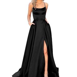 Бретельках Длинные черные платья выпускного вечера 2020 Ruched Split Criss Cross Поезд стреловидности Формальное вечера партии Gonws