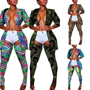 Sexy Leopard Камуфляж Красочные Отпечатано женщин пальто Костюмы NightClub Длинные чулки Длинные рукава нагрудные шеи Blazer Jacket Наряды