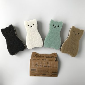 Exported to Japan 4 pieces super cute Kawaii cat Pan sponge scrub dish wipe scouring cloth loofah Cleaning Brushes Household Cleaning Tools