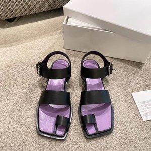 Estilo de Roma del dedo del pie-mando sandalias planas del talón de los zapatos de Bohemia Beach Negro Marrón sandalias de cuero zapatos de las mujeres