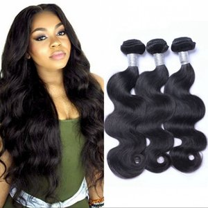 Brazilian Body Wave Virgin Hair Weft 3 Bundles Natural Black Color Cheap Unprocessed Human Hair Extensions