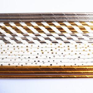 Eco-Friendly 1000pcs carta a caso Cannucce, Metallic Gold stagnola d'argento normale banda Stella Carta cannucce, la festa di Natale