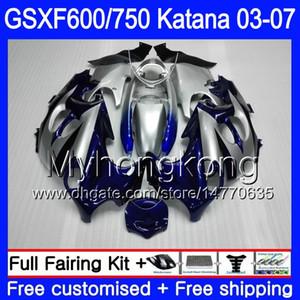 GSX600F Para SUZUKI GSXF 600 750 GSXF600 2003 2004 2005 2006 2007 293HM.0 GSXF-750 KATANA GSXF750 03 04 05 06 07 Fábrica de carenados azul negro