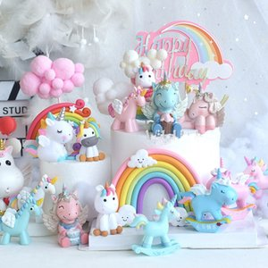 Arc-en-or Unicorn acrylique forme de gâteau Nuage Lollipop Forme décoration de gâteau bébé Petit gâteau d'anniversaire Topper gâteau de mariage Décor Y200618
