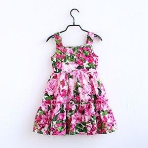 Mulheres Meninas vestido de verão boêmio crianças floral impressão suspender vestido crianças princess dress mommy e me Família Combinando Outfits C6576